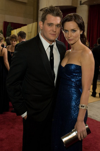 Michael Bublé wallpaper possibly with a business suit called Michael Buble and Emily Blunt