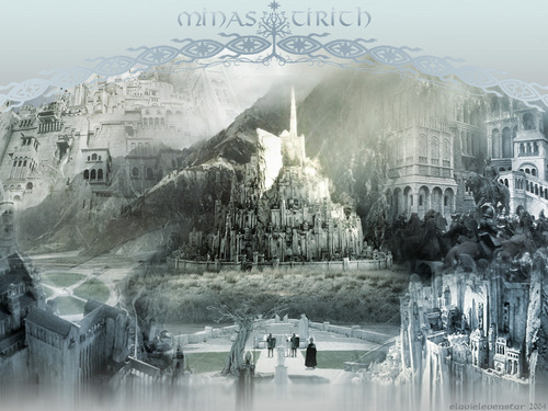 Lord of the Rings wallpaper with a fountain titled Minas Tirith