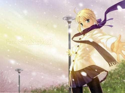 Fate Stay Night wallpaper probably with a street titled Saber_fsn