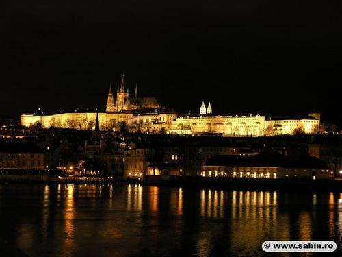 The Prague château at night