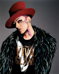 M.A.C. wolpeyper probably with a fedora, a snap brim hat, and a boater called Viva Glam V - Boy George