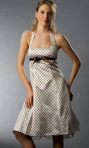 brown dress with dots