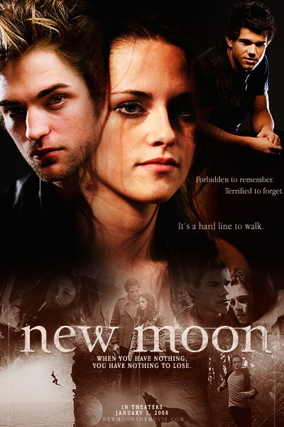 new moon; poster - new-moon-movie fan art