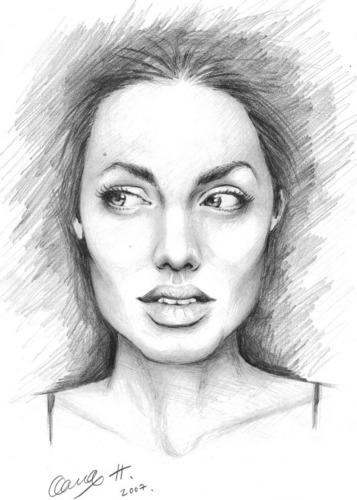 Angelina Jolie wallpaper probably containing a portrait entitled Angie drawings*
