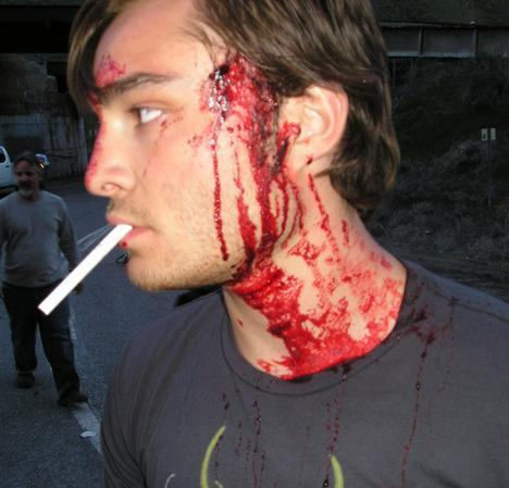 Ed on the set of S Darko