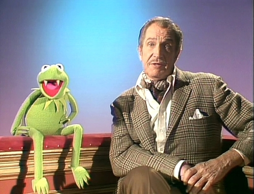 The Muppets wallpaper probably containing a business suit titled Kermit & Vincent Price