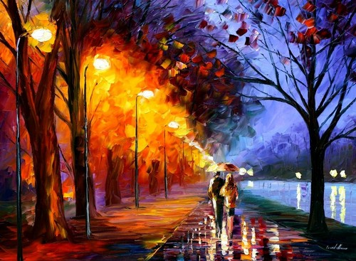 Love wallpaper containing a street and a business district titled Romantical love painting photo