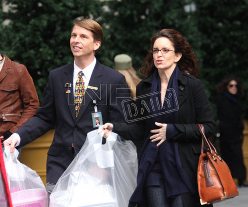 Tina Fey and Jack McBrayer on Set - 30-rock Photo