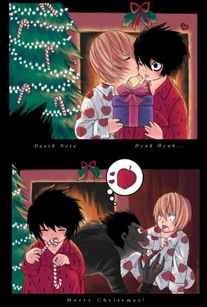 死亡笔记 壁纸 with a bearskin entitled my 圣诞节 gift to you-death note 圣诞节 fanart