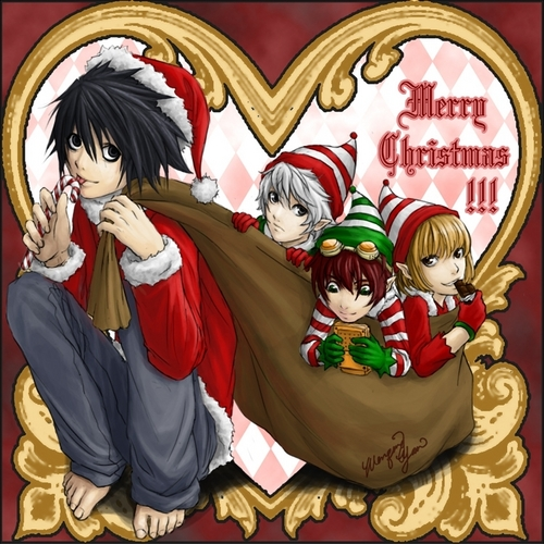 my christmas gift to you-death note christmas fanart