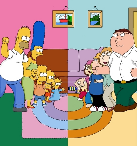 The Simpsons Vs Family Guy wallpaper containing Anime titled the simpsons vs family guy