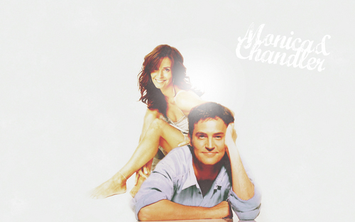 Monica and Chandler wallpaper probably containing a portrait called C/M