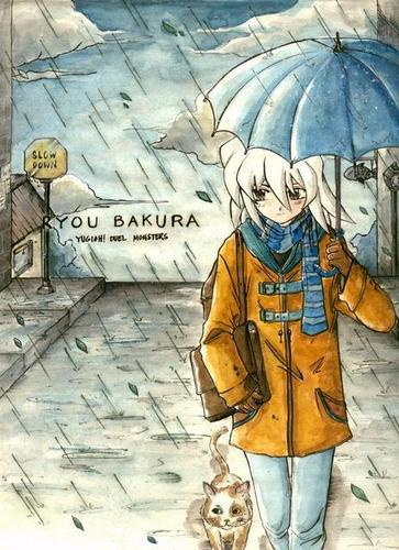 Ryou Bakura and his cat, raining