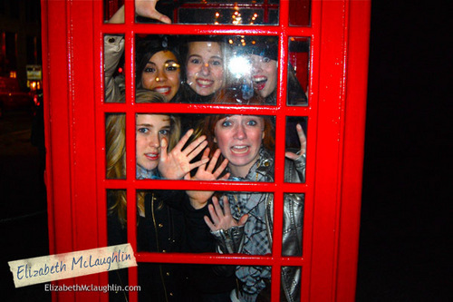 Samantha Boscarino wallpaper with a telephone booth titled Sam with the Clique Cast