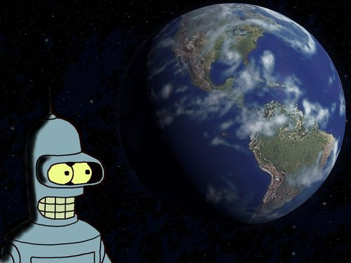 Futurama wallpaper probably containing an embryonic cell, a meteorological balloon, and an easter egg entitled Bender