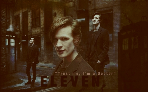 The Eleventh Doctor wallpaper possibly with a street, a sign, and a portrait entitled Eleventh Doctor