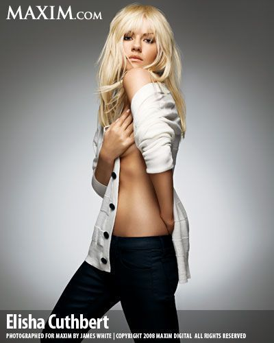 Elisha Cuthbert wallpaper possibly containing a legging, a hip boot, and hot pants titled Elisha in Maxim