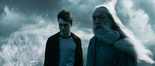 Harry and Dumbledore on Rock