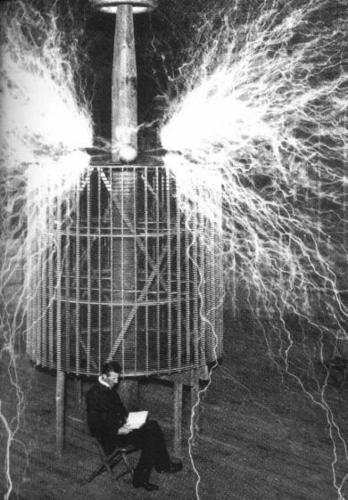 Tesla Reading by the Light of the Tesla Coil
