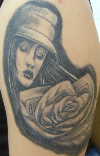 Boog style womans face and rose