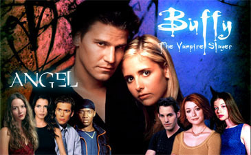 The Buffyverse fond d'écran probably with a concert, a sign, and a portrait entitled Buffyverse