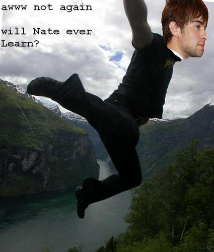 Nate falls off a cliff