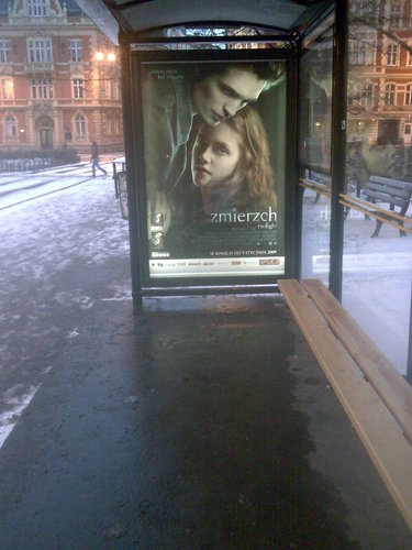 Poster at a bus stop in Poland 2009