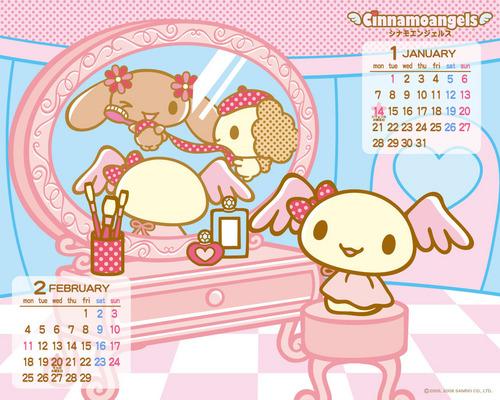 Cinnamoangels Calendar hình nền Jan-Feb 2008