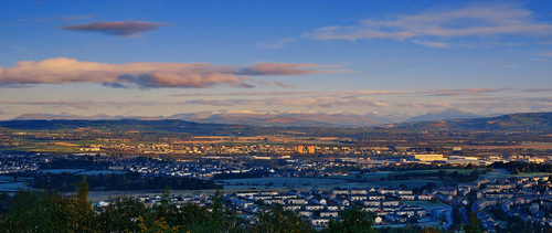 Scotland wallpaper with a business district titled View From Gleniffer Braes paisley