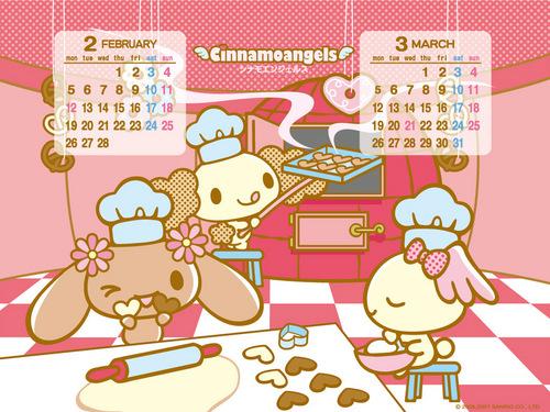 Cinnamoangels Calendar 壁纸 Feb-Mar 2007