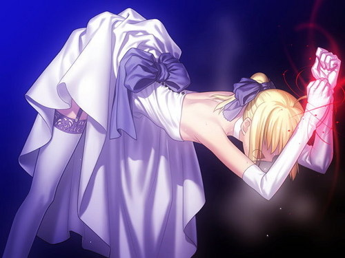 Saber being punished sejak Caster