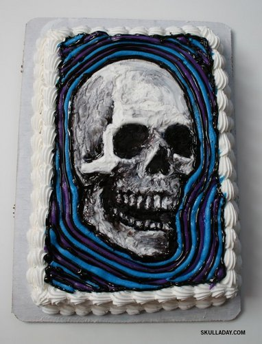 birthday cake with a skull