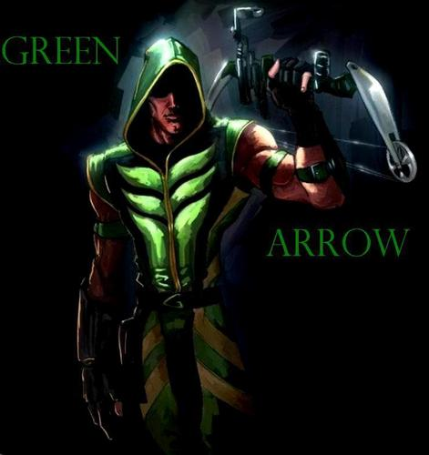 Green Arrow karatasi la kupamba ukuta probably containing anime entitled Arrow