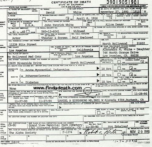 David White's (Larry Tate) Death Certificate