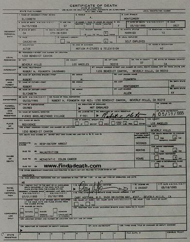 Elizabeth Montgomery 's(Samantha) Death Certificate - bewitched Photo