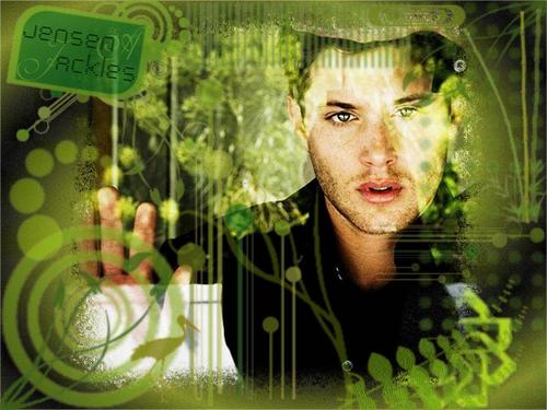 Green wallpaper probably containing a portrait entitled Green + Jensen Ackles