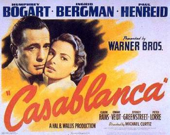 Ingrid Bergma and Humphrey Bogart in Casablanca poster