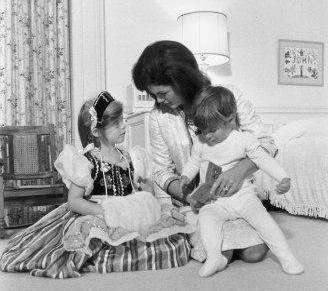 Jackie with Caroline and John Jr.