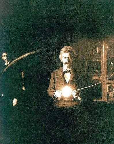 Nikola Tesla wallpaper probably with a sign entitled Mark Twain in Tesla's Lab