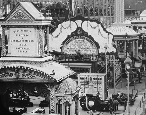 Outside of Tesla Exhibit 1893 World's Fair