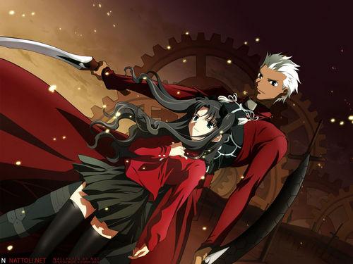 Servant Archer and Rin Toshaka