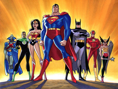 दी सी कॉमिक्स वॉलपेपर possibly containing ऐनीमे called Justice League