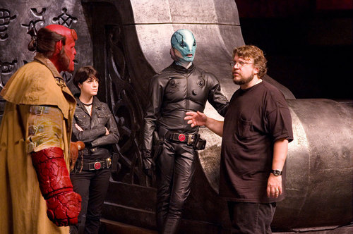 Ron Perlman, Selma Blair, Doug Jones and director Guillermo del Toro on the set of Hellboy 2