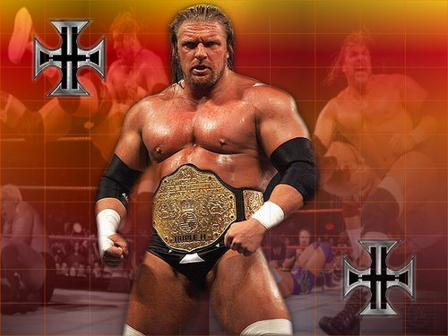 Professional Wrestling Hintergrund with a stück, hunk called Triple H - The Game