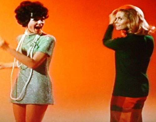 Bewitched wallpaper possibly with bare legs, hot pants, and a stocking titled Samantha and Serena