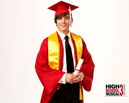High School Musical 3 karatasi la kupamba ukuta with an academic kanzu, gown entitled hsm3