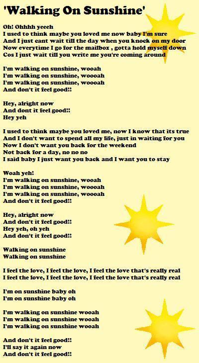 Walking On Sunshine' Lyrics Sheet - House MD Fans Fan Art (4186505 ...