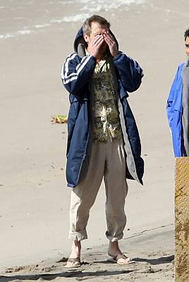 Hugh Laurie Filming 'House MD' in Malibu