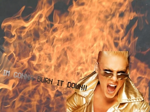 IM GONNA BURN IT DOWN  - pink Wallpaper