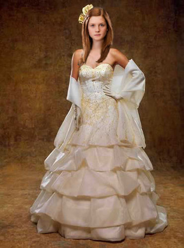 Harry Potter پیپر وال with a gown, a bridal gown, and a ball گاؤن, gown called Ginny-Beautiful bride